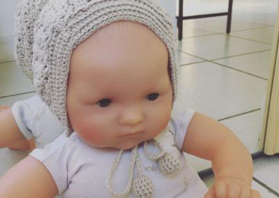 Béguin au crochet gris perle en coton Zaichik-DIY modèle original