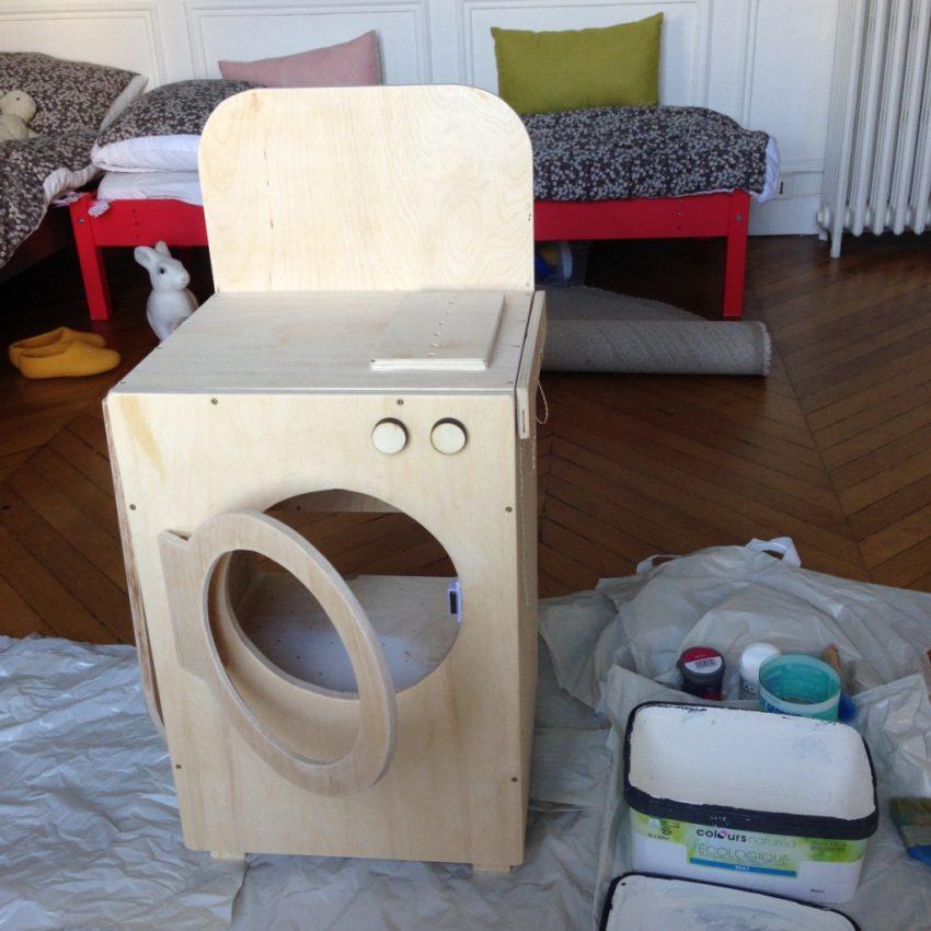 Jouet en bois machine à laver avant mise en couleur Zaichik-DIY