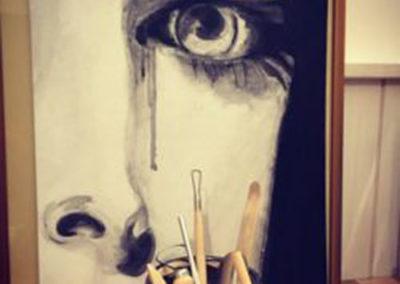 Portrait de marie la foret en noir et blanc acrylique sur toile Zaichik-DIY