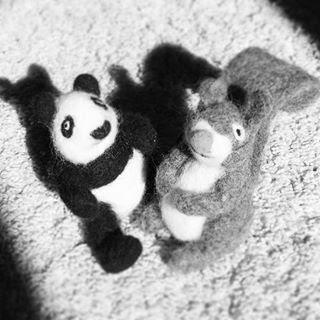 Panda et écureuil en feutrine laine cardée Zaichik-DIY