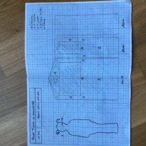 croquis et étude sur papier millimétré pour le DIY théâtre de marionnettes Zaichik-DIY
