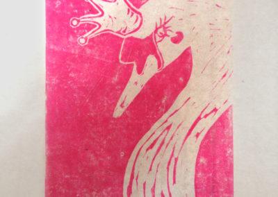 Linogravure : Carte d'anniversaire fait main linogravure le Lac des cygnes tirage magenta Zaichik DIY 800
