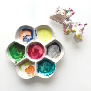 Palette en céramique, aquarelle