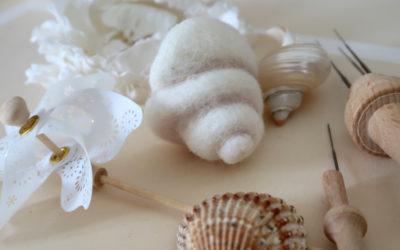 Créer un coquillage en laine cardée niveau 2