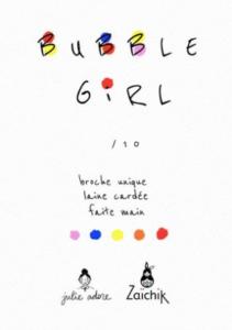 carte bubble girl broche