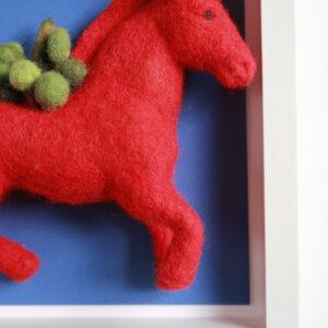 museau cheval rouge laine cardée